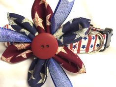 Dog collar Stars and Stripes collar 4th of by DazzleDoggieDesigns
