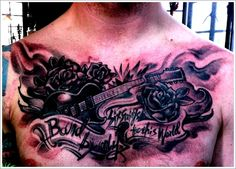 24 Great Guitar Tattoo Designs: Black Guitar Tattoo Designs For Men On Chest ~ Tattoo Design Inspiration