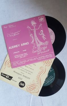 Set Of Two Vintage Collectible Long-Playing Records Tour Eiffel, Wish You The Best, Arno, Statues, Singers, My Etsy Shop, French, Vintage, Collection