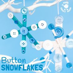 Build Christmas memories with a stunning Button Snowflake craft. A gorgeous Winter craft or Christmas card for kids. These homemade ornaments are so pretty.