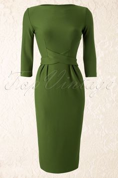 Tatyana - 60s Vickie Criss Cross Dress in Vintage Green