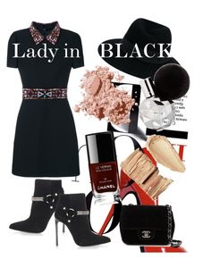 """""""#00006"""" by glitchsama on Polyvore featuring Yves Saint Laurent, Maison Michel, Chanel, Bobbi Brown Cosmetics and Valentino"""
