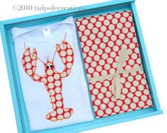 Baby Red Lobster Gift Set  2 Piece Applique by tadpolecreations, $32.00