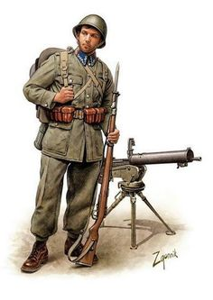 Defensive Campaign 1939 Polish infantry soldier, on the back of heavy machine gun wz. 30 based on wz. Military Art, Military History, Poland Ww2, Ww2 Uniforms, Military Uniforms, Ww1 Soldiers, World War One, Panzer, Armed Forces