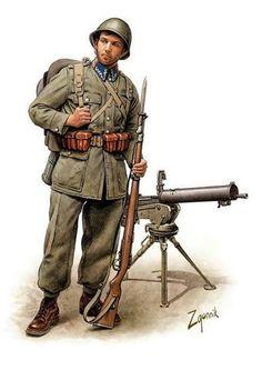Żołnierz piechoty polskiej, z tyłu ciężki karabin maszynowy wz. 30 na podstawie wz. 34. Rys. Dmitri Zgonnik.