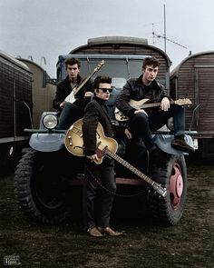 #JohnLennon (aged 20), Stu Sutcliffe (aged 20), and #GeorgeHarrison (aged 17) posing on a truck in Hamburg, 1960