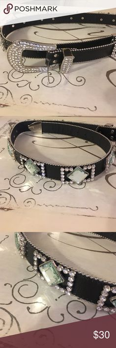 New Black Leather Rhinestone Belt New never worn. Black leather Rhinestone belt. Measures 40 inches long. Really pretty. Accessories Belts