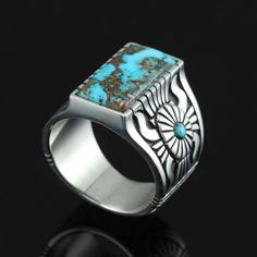 Rectangular Candelaria Turquoise Ring by Marco Begaye