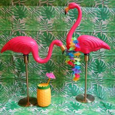 Pink Flamingo Lamp with Gold Base - Vintage classic Don Featherstone pink flamingo lawn ornament turned into a table lamp! Perfect for an RV, bedroom, nursery...Anywhere you want a funky conversation piece and a little mood lighting! Pink flamingo party decor