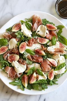 Figs and Prosciutto, savory and sweet they're a match made in heaven! Add some fresh mozzarella, peppery arugula and balsamic dressing and this salad will make you swoon with every bite. Mozzarella Salad, Fresh Mozzarella, Fig Salad, Arugula Salad, Easy To Make Dinners, Cooking Recipes, Healthy Recipes, Free Recipes, Prosciutto