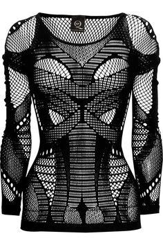 McQ Alexander McQueen --   Open-knit paneled stretch top