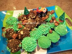 Homemade Jeep Trail Birthday Cake: I made this homemade Jeep trail birthday cake for my son's 2nd birthday party.  I thought of my plan of action by baking some cupcakes and arranging them