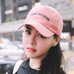 Vacation letter embroidered baseball cap for teenage girls adjustable cap