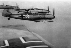 Messerschmitt Bf 109Es of JG 26 in 1940: this Fighter Wing featured prominently in the Battle of Britain that summer, its 3rd Staffel (Squadron) being led by renowned ace Adolf Galland. Here they are flying the classic 'finger four' formation, subsequently adopted by all combatant airforces and still in use today.