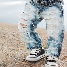 Straight up shredded custom made to order distressed denim pants baby toddler kids 0-8yrs