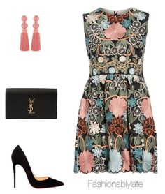 """Untitled #1101"" by fashionablylateky on Polyvore featuring RED Valentino, Oscar de la Renta, Christian Louboutin and Yves Saint Laurent"