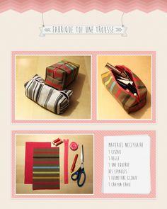 Tutoriel couture pochette Fabrique toi une trousse... Un tuto simple et en image, avec toutes les étapes pas à pas pour réaliser une trousse toute simple !
