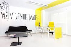 Minimalist Office Interior Design by Anna Hernandez Palacio Beautiful Interior Design, Office Interior Design, Office Interiors, Office Designs, Interior Ideas, Office Wall Graphics, Yellow Office, White Office, Yellow Desk