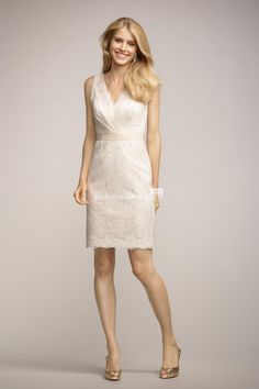 elegant ivory v-neck v-back sleeveless short sheath lace bridesmaid dress  with belt 3009ccdab4a5