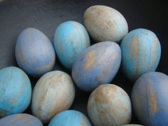 Shades of Blue Paper Mache Spring or Easter Eggs