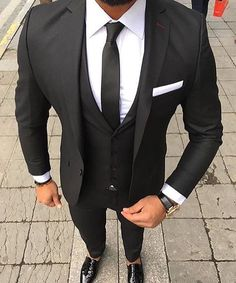 2018 Custom Made Black Men Suits for Wedding 3 Pieces Jacket Pants Vest Notched Lapel Slim Fit Suits Groomsmen Tuxedos Prom Wear Black And White Suit, Black Suit Men, Black Suit Groom, Black Suit Shoes, Mens Fashion Suits, Mens Suits, Grey Suits, Man Fashion, Mens 3 Piece Suits