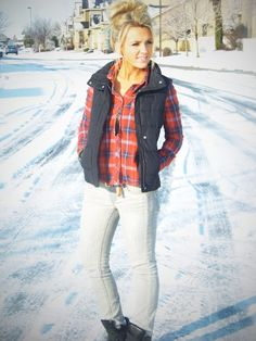 flannel and puffy vest... my kind of lazy day outfit!