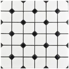 SomerTile 11.75x11.75-inch Victorian Broadway Matte White with Black Dot Porcelain Wall Tile (Case o | Overstock.com Shopping - The Best Deals on Floor Tiles