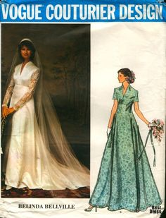 Esboços de vestidos de noiva do século XX1970