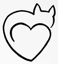 Cat Heart Clipart Black And White One Line Art By Minh Tan Heart drawing Simple line drawings Line art
