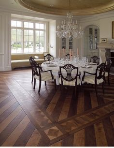 Wood Floor Design Diagonal In Entry With Border Then Straightens The Lines Into Bath Modern Dining RoomsVictorian