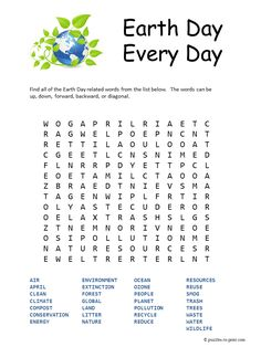 Free Printable Earth Day Word Search - perfect for getting in the spirit of April 22nd.