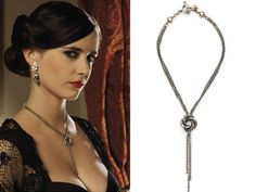 Lot 32 an algerian love knot necklace designed by lindy hemming and sophie harley and worn by eva green as vesper lynd throughout the film casino royale Casino Dress, Casino Outfit, Bond Girls, Knot Necklace, Casino Royale, Daniel Craig, Eva Green, Casino Cakes, Necklace Designs