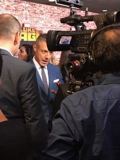 Theo Rossi getting interviewed. Luke Cage Premiere September 28, 2016