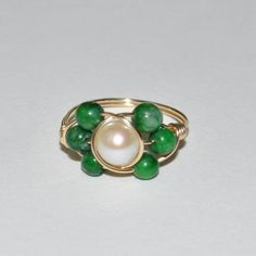 Kimandkay+Wire+Wrapped+Ring+14K+Gold+filled+Freshwater+PEARL&+JADE