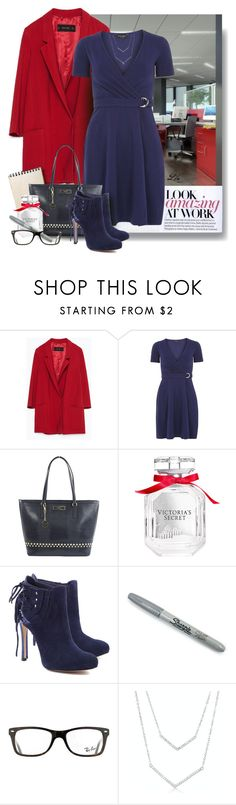 """1 dress - 3 looks - Amazing at work"" by fashion-architect-style ❤ liked on Polyvore featuring Zara, Dorothy Perkins, DKNY, Victoria's Secret, Schutz, Sharpie and Ray-Ban"