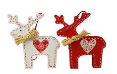 christmas reindeer wooden decorations | ... Graham Christmas Set of 2 Scandi Reindeers Wooden Tree Decorations