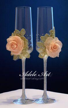 Personalizada boda flautas de champán oro y rosa rosa Set de