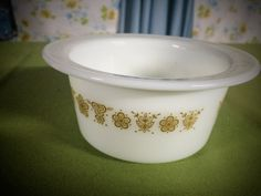 Pyrex Butterfly Gold Pattern Round Tub Butter Dish by GinchiestGoods on Etsy