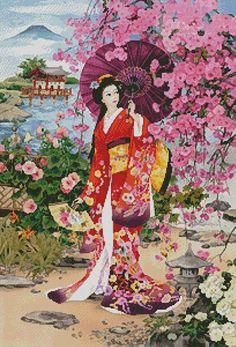 Japanese Garden Beauty Cross Stitch Pattern***L@@K***        ~~ I SEND WORLD-WIDE ~~Free