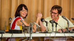 """Can an inspirational movie also be a drag?  That's the distinct feeling one can't shake walking out of """" Battle of the Sexes ,"""" a fictionalized rendering of the 1973 tennis match between 29-year-old Billie Jean King and 55-year-old hustler Bobby Riggs and the... - #Battle, #Review, #Serves, #Sexes, #St, #Timely, #TopStories"""
