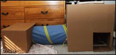 DIY rabbit tunnel with cardboard boxes.
