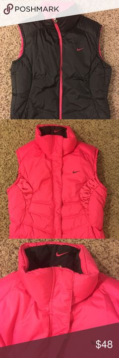 Nike Vest - 2 in 1 This vest is so versatile! You can on the black side or on the pink side. Nike Jackets & Coats Vests