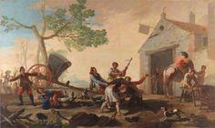 """""""La riña en la Venta Nueva"""" 1777, Cartón para tapiz de Goya.  Museo del Prado. Los cartones para tapices eran pinturas al óleo sobre lienzo que servían de modelo para los tejedores de la Real Fábrica de Tapices."""