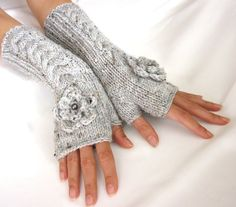 Gretchen/Reyna:  LIGHT  GRAY Tweed LONGFingerless Gloves Wool Mittens Arm by Rumina