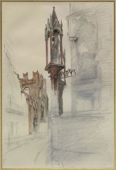 Study in Colour of one of the Niches surrounding the Tomb of Cansignorio della Scala at Verona, with Remains of the 'Casa di Romeo'  John Ruskin, probably May - June 1869  © University of Oxford - Ashmolean Museum