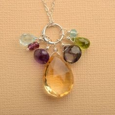 This citrine chakra necklace was created with stones that represent each chakra. There is a large pear shaped faceted golden yellow citrine at the c Chakra Necklace, Chakra Jewelry, Yoga Jewelry, Gemstone Necklace, Jewelry Gifts, Pendant Necklace, Citrine Pendant, Citrine Gemstone, Or Violet