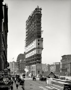"New York Times Building Under Construction (1903) . . . what would become ""Times Square."""