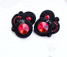 Black Red Soutache Earrings-Small Earrings-Black Red Swarovski Earrings-Swarovski Jewelry-Black Retro Earrings-Retro Jewelry-Beaded Earrings