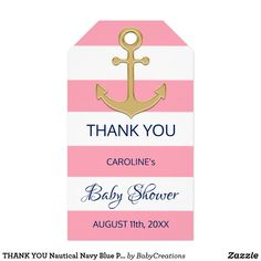 THANK YOU Nautical Navy Blue Pink Girl BABY SHOWER