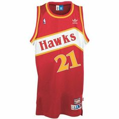 adidas Atlanta Hawks #21 Dominique Wilkins Red Hardwood Classics Swingman Basketball Jersey